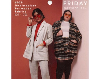 The Heather Blazer sizes XS-7X Friday Pattern Co Sewing Pattern # 029- Stylish Jacket w/Oversized Fit