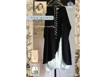 Tina Givens Poppy Open Shirt with Sleeveless Drawstring Slip XS-3X Sewing Pattern # 3122