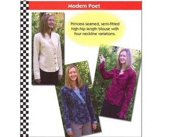 Modern Poet Blouse with Neckline Variations sizes XS-5XL Dana Marie Sewing Pattern # 1039