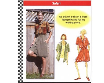 Loose Fitting Shirt & Full Leg Walking Shorts sizes XS-5XL Dana Marie Sewing Pattern # 1024 Safari