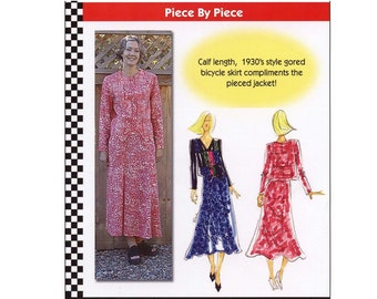 Calf Length 1930's Style Gored Skirt & Block Pieced Short Jacket XS-5XL Dana Marie Sewing Pattern # 1019