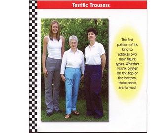 Dana Marie Terrific Trousers sizes XS-5XL Sewing Pattern # 1038 Tapered, Boot Cut & Wide Straight Leg