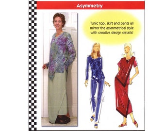 Asymmetrical Tunic Top w/Long or Short Sleeves, Skirt & Pants XS-5XL Dana Marie Sewing Pattern Asymmetry # 1029