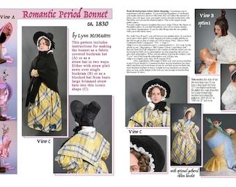 Romantic Period Bonnet circa 1830 Sewing Pattern # 39 by Lynn McMasters