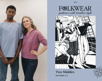 Folkwear Two Middies Sailor Shirt, Women's 1920s Shirt Sewing Pattern # 211 Middy Men's & Women's sizes XS-2XL