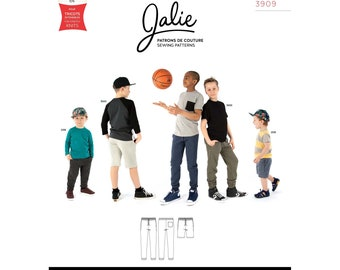 Jalie Henri Joggers Pants and Shorts Sewing Pattern 3909 Men's XS-XXL & Boys' 2-13