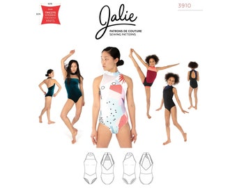 Jalie Jade High Neck Halter Leotards Sewing Pattern 3910 Misses' XS-2XL & Girls' 2-13