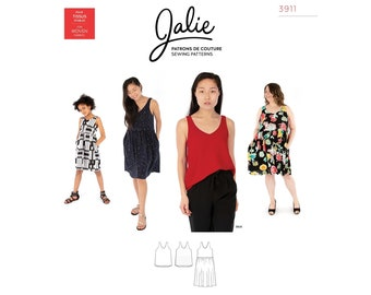 Jalie Michelle V Neck Tank Top & Dress Sewing Pattern 3911 Women's XS-2XL and Girls' 2-13