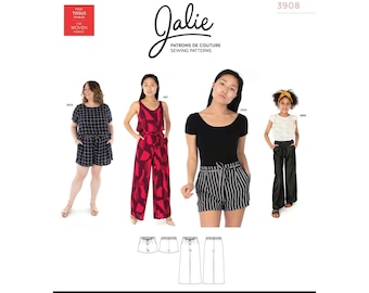 Jalie Simone Wide-Leg Shorts and Pants Sewing Pattern 3908 Women's XS-2XL & Girls' 2-13