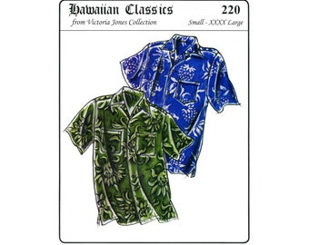 Men's Loose-fit, Casual Hawaiian Aloha Shirt size S-4XL Victoria Jones Sewing Pattern #220