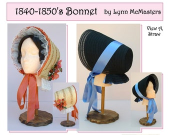 Early Victorian 1840-1850s Bonnet in Straw Braid or Fabric Covered - Sewing Pattern by Lynn McMasters