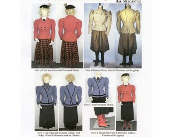 1890's Mix & Match Outfits w/Bodice or Jacket, Culottes, Bloomers, Skirt sizes 6-26 Laughing Moon Sewing Pattern # 110