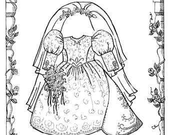 "18"" Doll Bridal Ensemble - Wedding Gown, Veil, Headpiece, Garter - Primrose Lane Sewing Pattern # BRD018"