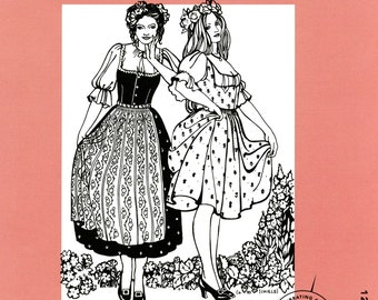 Folkwear Austrian Dirndl Dress / Jumper, Blouse and Apron Sewing Pattern 123 size XS-3X German, Swiss Style