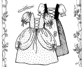 """Cinderella Workdress, Ballgown & Tiara for 18"""" Dolls - Primrose Lane Sewing Pattern"""