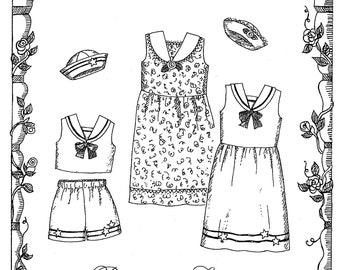 "18"" Doll Clothes - Summertime Sailor - Dress, Top, Shorts & Hat Primrose Lane Sewing Pattern"