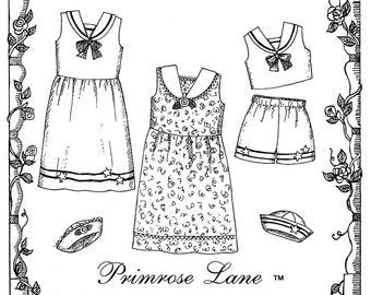 Girls' Summertime Sailor Dress, Top, Shorts & Hat sizes 3-8 Primrose Lane Sewing Pattern # PL-015