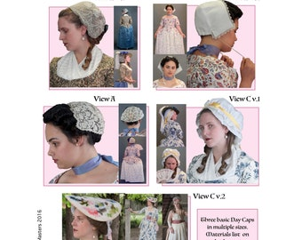 18th Century Women's Caps Sewing Pattern # 64 by Lynn McMasters 1700s styles