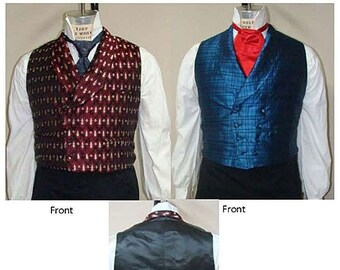 Men's Romantic & Victorian Double-Breasted Shawl Collar Vest sizes 34-56 Laughing Moon Bijoux Sewing Pattern # 5 1830-1860 era