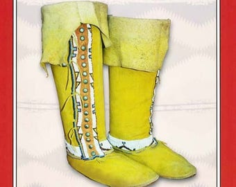 Missouri River Plains Hi-Top Moccasins - Men's & Women's sizes Sewing Pattern #11 - Native American Indian Boots