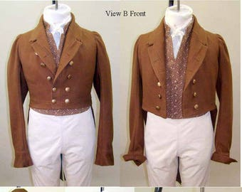 Mens Regency era Tailcoat sizes 34-56 Laughing Moon Costume Sewing Pattern 121 w/5 Collar and Lapel Options