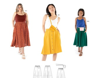 Jalie 4017 Genevieve Pull-on Gathered Skirt & Waist Pouch Sewing Pattern in 28 Sizes Women and Girls