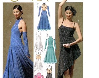 McCall's 5136 Dance Dress w/Attached Bodysuit & Fingerless Gloves Sewing Pattern sizes 4-10