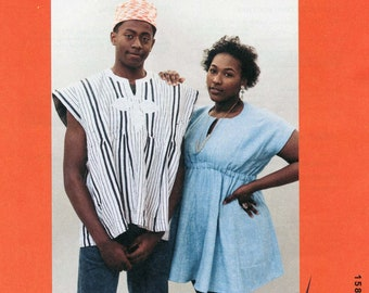 Folkwear Ghanaian Smock & Kufi Cap - Men's and Women's sizes S-XL Sewing Pattern # 158