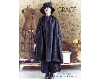 Tina Givens Grace Double Breasted Coat sizes XS-3X Sewing Pattern # TG-A7500