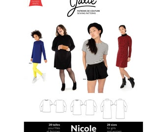 Jalie Nicole Shift Dress, Tunic & Tee Sewing Pattern 3903 Women's XS-2XL and Girls' 2-13