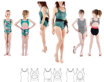 Jalie 3893 Diane Tank Swimsuit w/Keyhole Back Sewing Pattern in 27 sizes Women & Girls