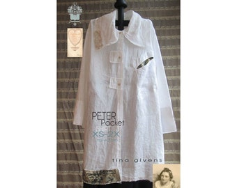 Tina Givens Peter Pocket Shirt sizes XS-2X Sewing Pattern # 7130 Roomy & Casual Design