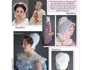 Late 18th & Early 19th Century Woman's Caps 1700s-1800s Sewing Pattern # 65 by Lynn McMasters