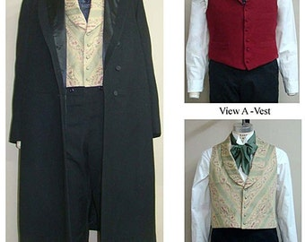 Men's Single & Double Breasted Frock Coat and Vest sizes 34-58 Laughing Moon Sewing Pattern # 109 Victorian, Western Costume