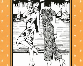 Folkwear Hong Kong Cheongsam Long Dress sizes XS-3XL Sewing Pattern # 122 1930s-Modern Style