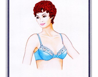 Low-cut Underwire Bra w/Lace trim size 32A - 40DD Elan Sewing Pattern # 511