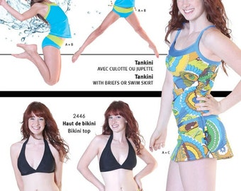 Jalie Tankini Swimsuit Tank Top, Regular or Skirted Brief Sewing Pattern #3023 in 27 Sizes for Women & Girls