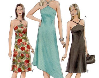 Vogue 7874 Misses' Reverse Halter Dress with Straight or Shaped Hem Options Sewing Pattern