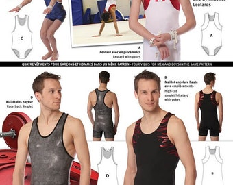 Jalie Gymnastics Leotards & Singlets / Biketard Sewing Pattern #2912 in 22 Sizes for Men and Boys