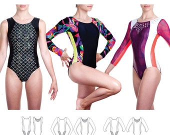 Jalie Princess Seam Gymnastics Leotards Sewing Pattern 3464 Lillie - 22 Sizes for Women & Girls