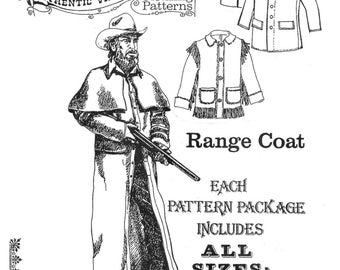 Buckaroo Bobbins Range Coat, Duster & Barn Coat Sewing Pattern sizes 36-56 Civil War, Western, Cowboy