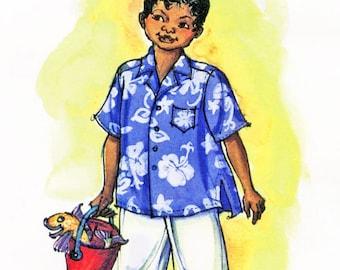 Boys' Loose-fit Hawaiian Aloha Shirt - Victoria Jones Sewing Pattern # 235 size 1-7