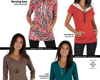 Jalie V-Neck T-Shirts - Nursing & Regular Tees in 2 Lengths Sewing Pattern # 3132 Bust 31-50""