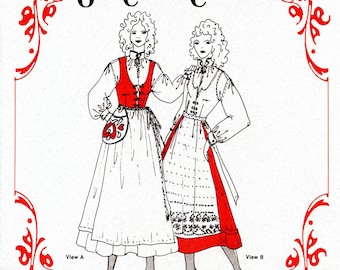 Misses' Nordic Style Olde Country Costumes Jumper, Blouse, Apron & Waist-bag sizes 8-16 Sewing Pattern # 871