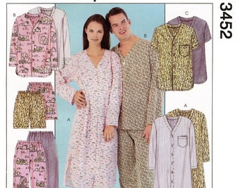 Misses', Men's & Teen Boys' Nightshirt, Top, Pull-on Pants or Shorts - Pajamas - McCall's Sewing Pattern # 3452