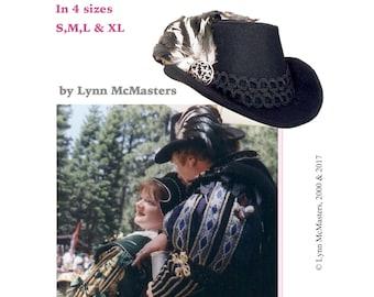 Men's Elizabethan Arched Brim Hat sizes S-XL Sewing Pattern # 2 by Lynn McMasters