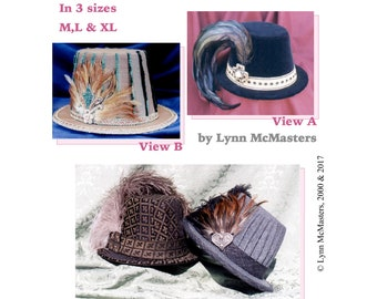 Men's Elizabethan High Crowned Hat in 4 Views sizes M-L-XL Sewing Pattern by Lynn McMasters - Renaissance Faire Historic Costume