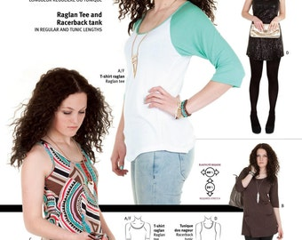Jalie Raglan Tee, Racerback Tank Top and Tunic Sewing Pattern #3245 in 29 Sizes Women & Girls