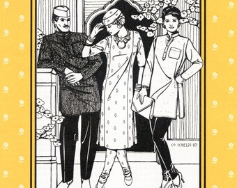 Folkwear Jewels of India Kurta Shirt, Kamiz Tunic, Churidar Pants & Gandhi Hat Sewing Pattern # 135 for Men and Women