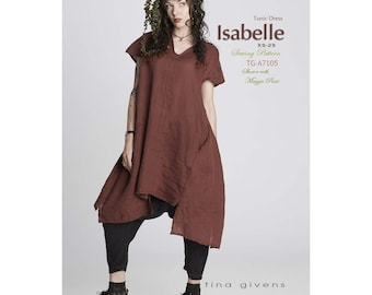 Tina Givens Isabelle Tunic Dress with Uneven Hemline sizes XS-2X Sewing Pattern # TG-A7105